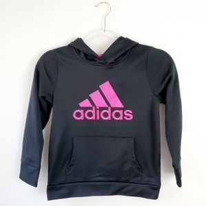 Adidas Black Pullover Pink Logo Hoodie